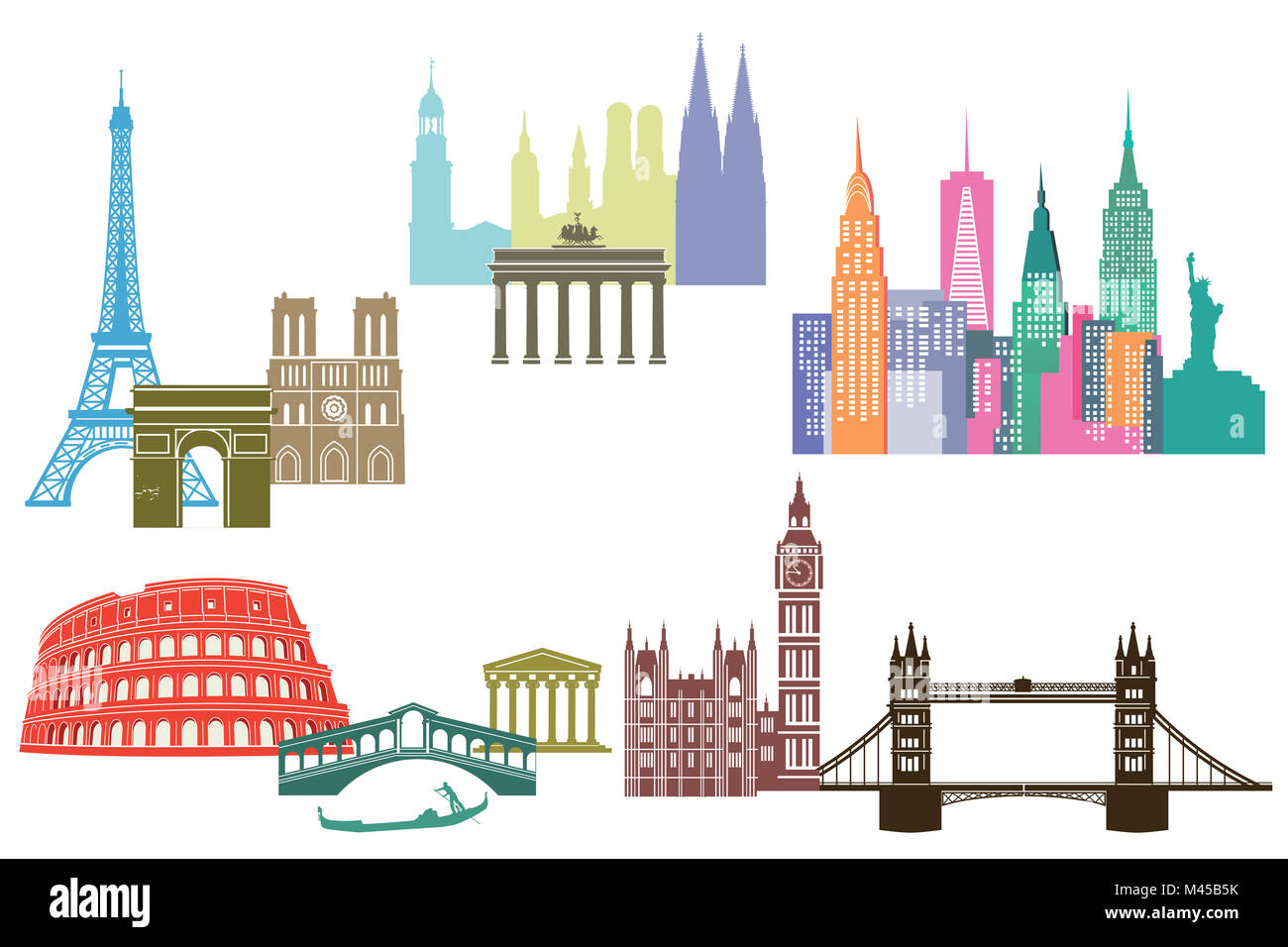 monument and skylines of cities around the world - Stock Image