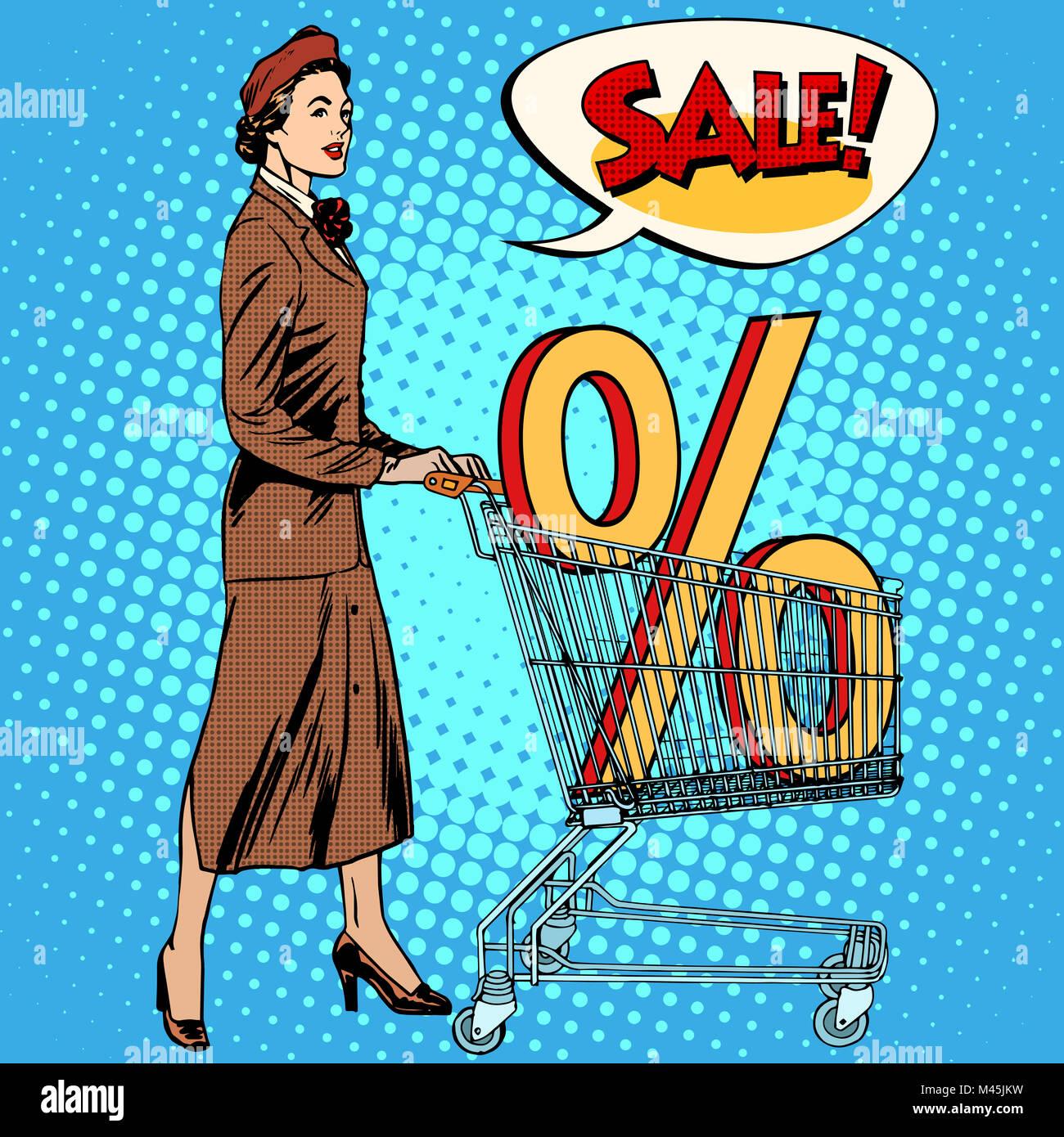 Buyer discounts sale grocery cart - Stock Image