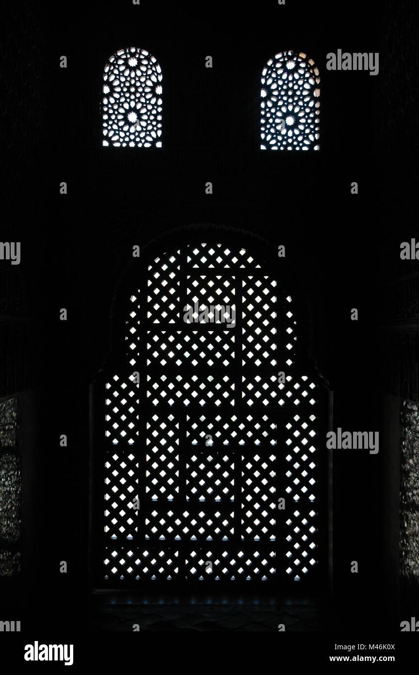 Screened Windows in the Alhambra, Granada - Stock Image