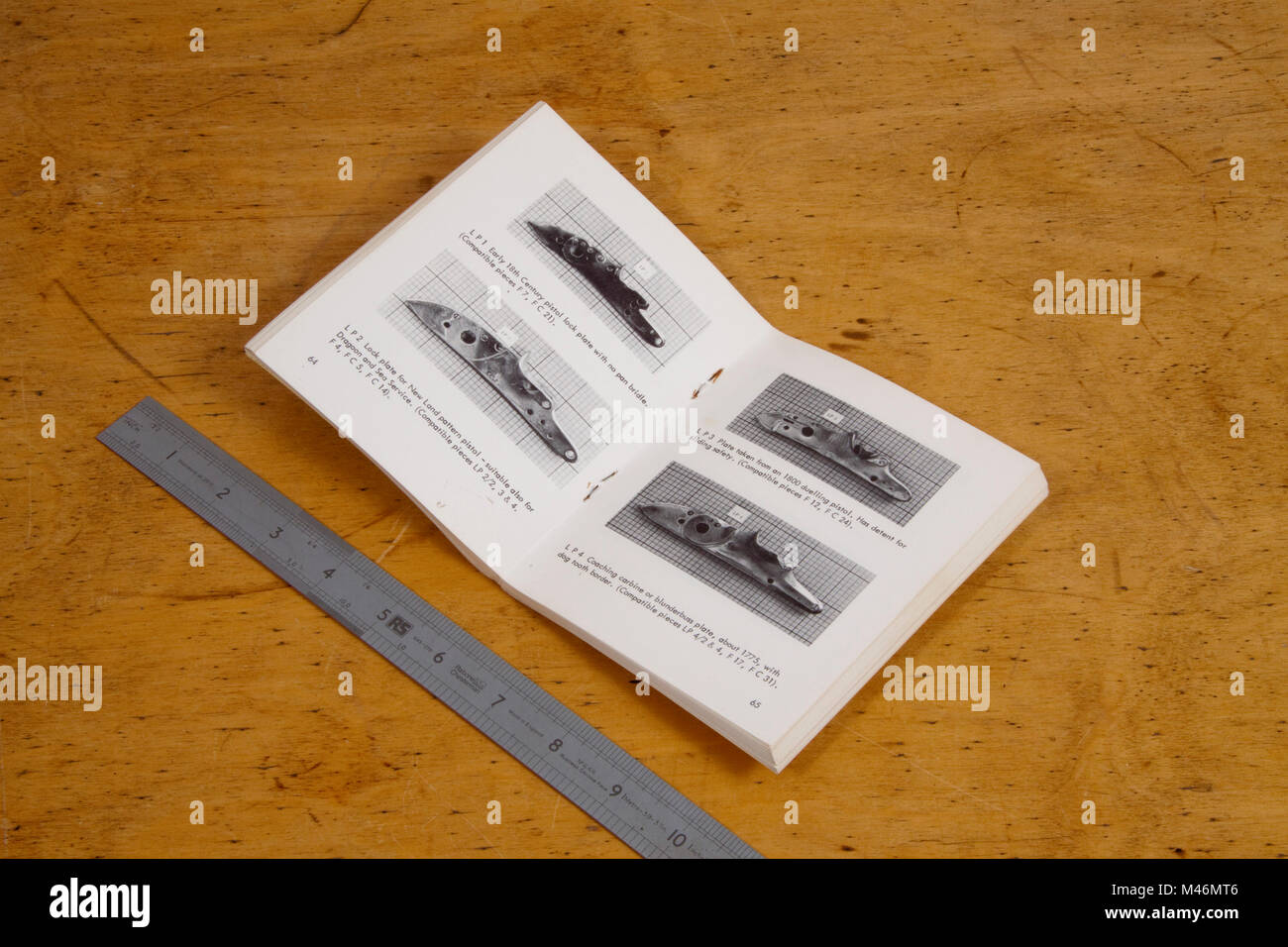 Illustrated booklet of antique gun parts - Stock Image