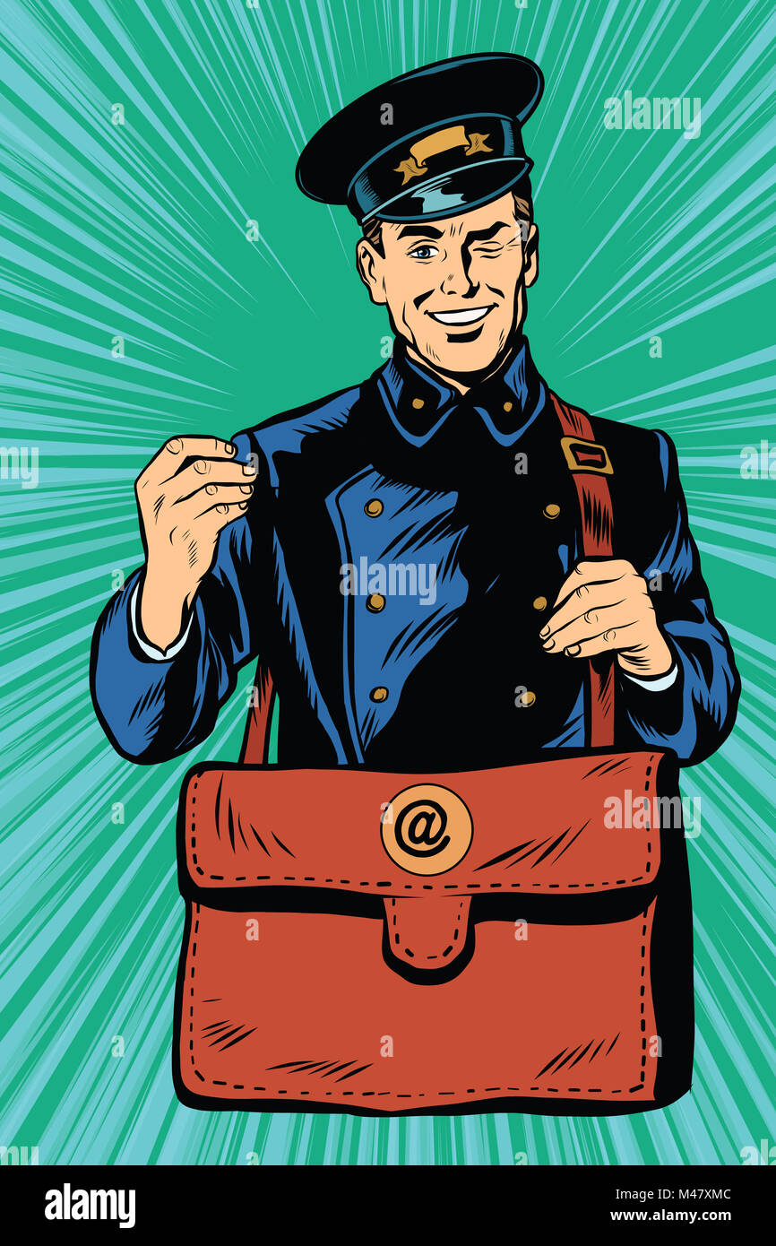 Friendly retro postman in blue uniform with bag - Stock Image