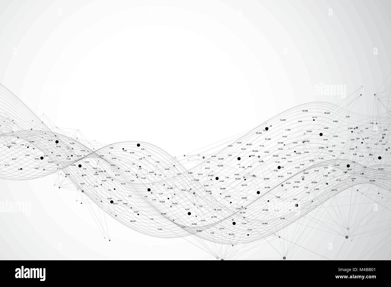 Graphic abstract background communication. Big data visualization. Perspective backdrop with connected lines and - Stock Image