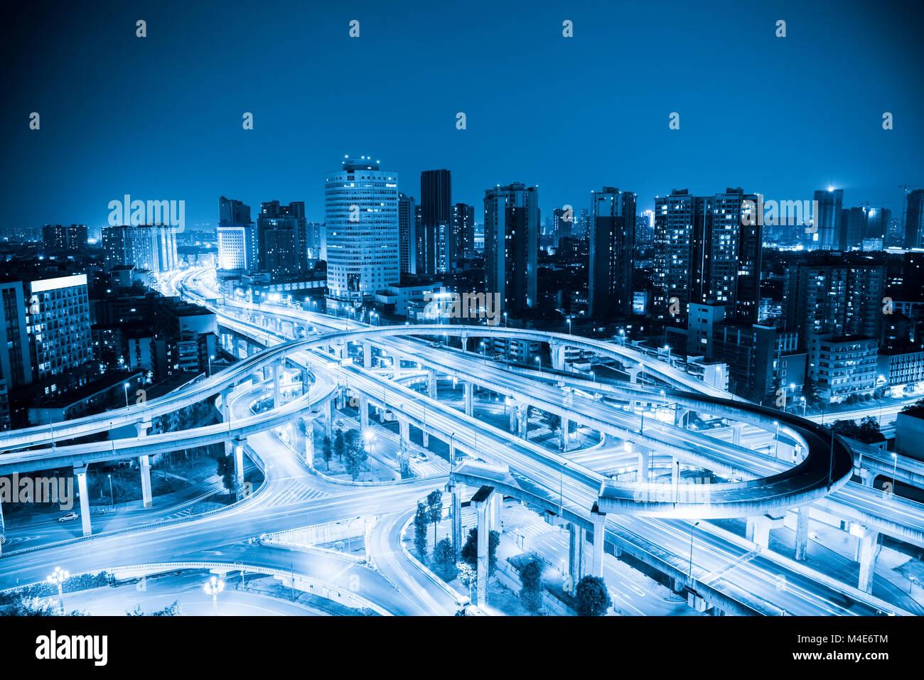 city interchange with blue tone - Stock Image