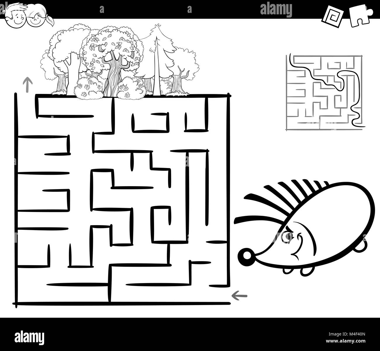 Maze With Hedgehog Coloring Page Stock Photo 174894741 Alamy