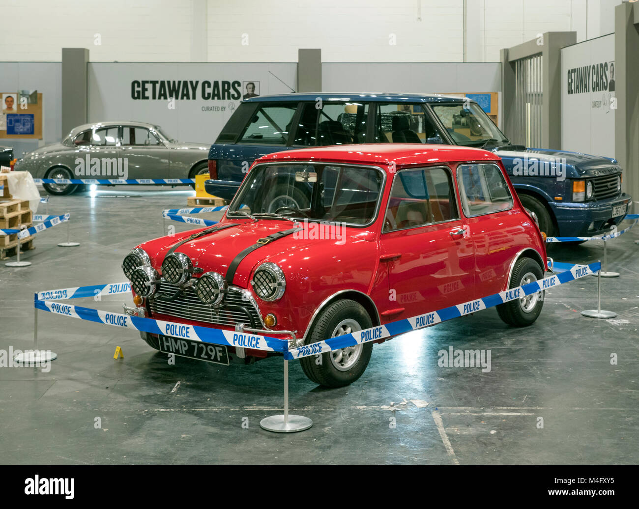 London, UK. 15th Febraury, 2018. Getaway car display, Italian job BMC Mini Cooper at The London Classic car show - Stock Image