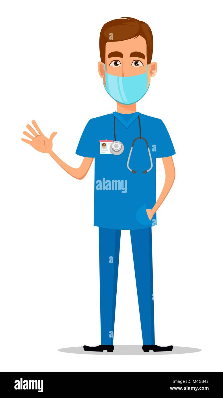 Young Professional Doctor In Mask Waving Hand Medical Worker Stock
