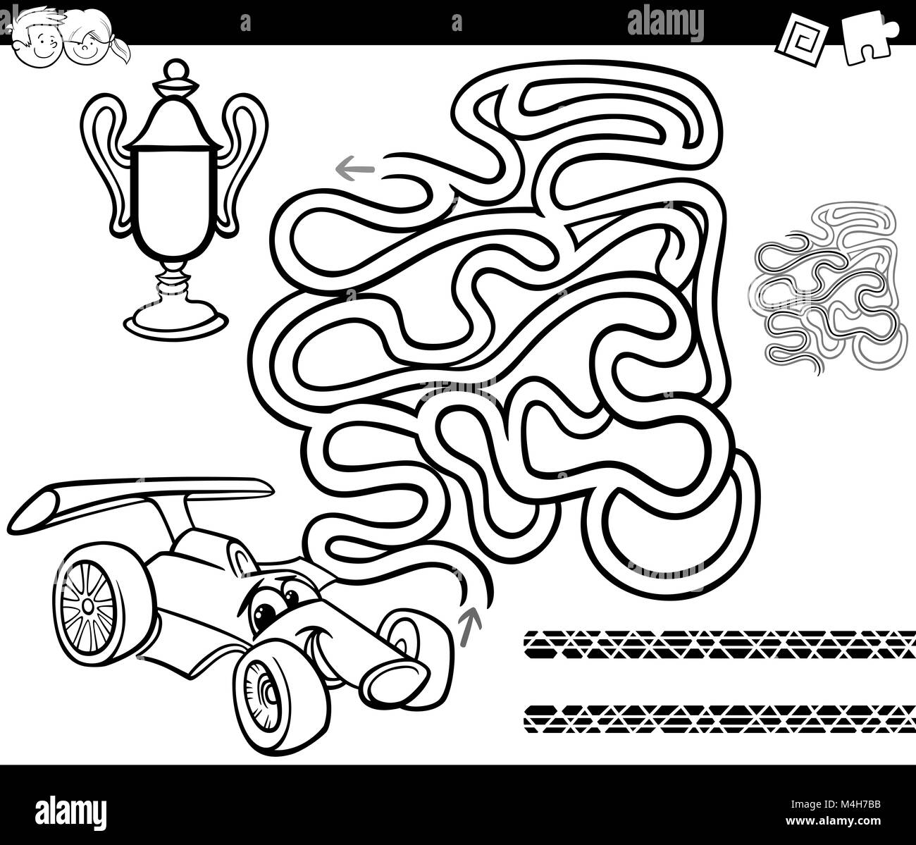 Maze With Race Car Coloring Page Stock Photo 174941295 Alamy