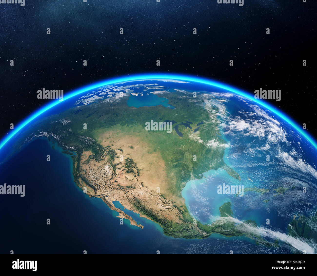 Earth viewed from space with focus on North America. Detailed 3D render against dark starry night sky (Elements - Stock Image
