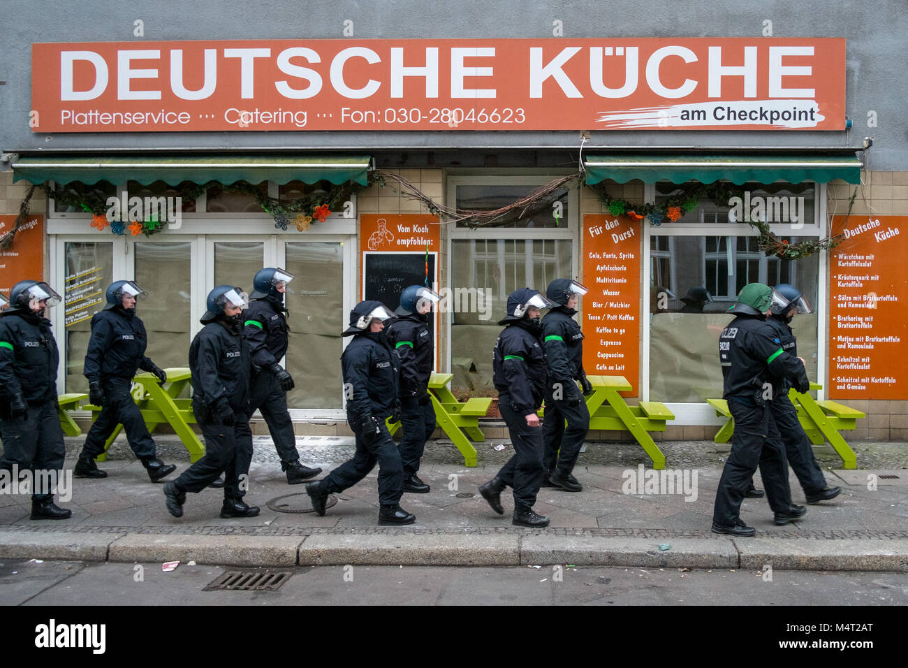 Berln Germany 17th Feb 2018 Police Officers Walk Uast A Stock