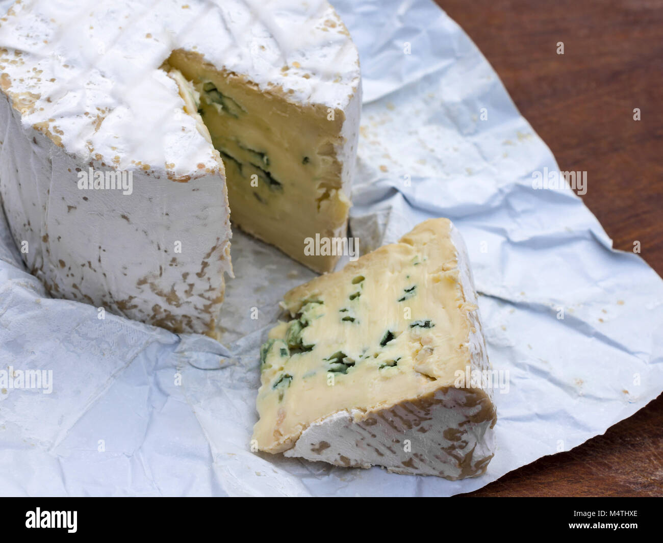 Commercial round Blue cheese, French - Stock Image