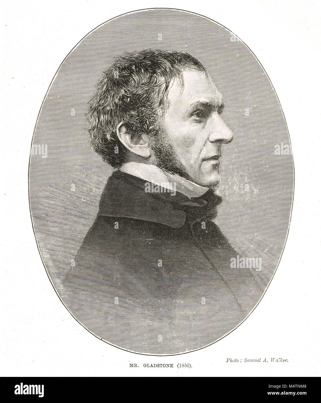 British Prime Minister William Ewart Gladstone in 1850 - Stock Image
