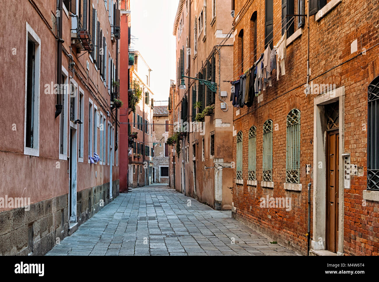 Typical old empty halley in the city of Venice, Italy. - Stock Image