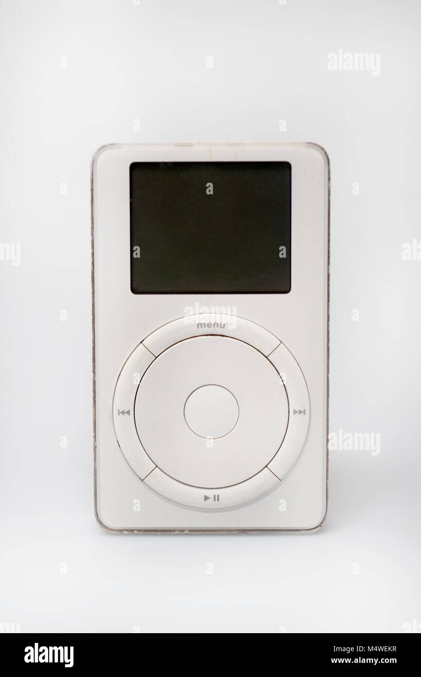 Vintage Apple iPod from 2001 music MP3 player Stock Photo