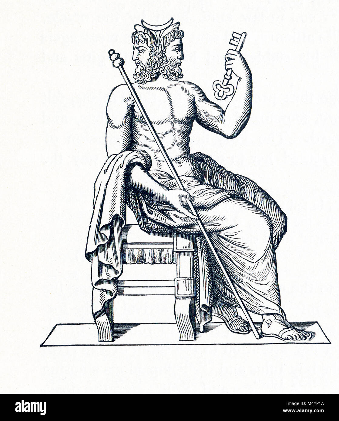 The statue here represents Janus, the god of beginnings. The Romans depicted Janus with two heads, one looking forward Stock Photo