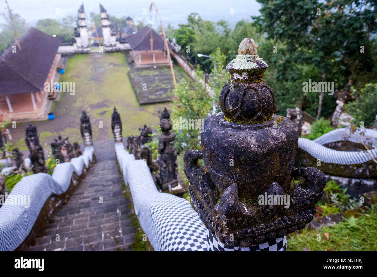 Pura Lempuyang temple's outer sanctum seen from top of the stairs leading to the middle sanctum, Bali, Indonesia. - Stock Image