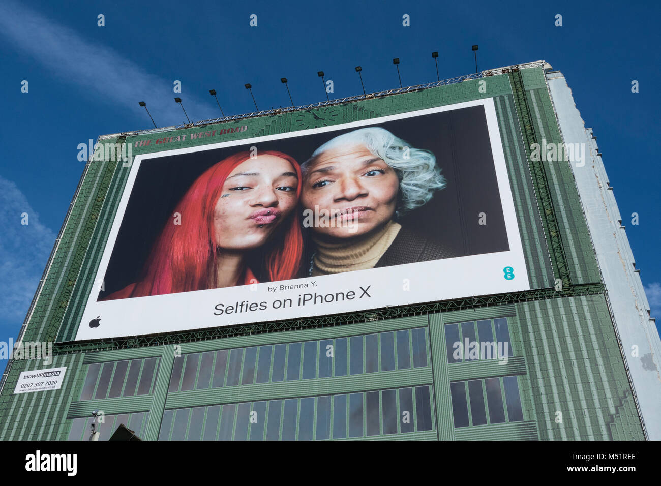 iPhone X selfies by Brianna Y - digital billboard in Brentford, West London, U.K. Stock Photo