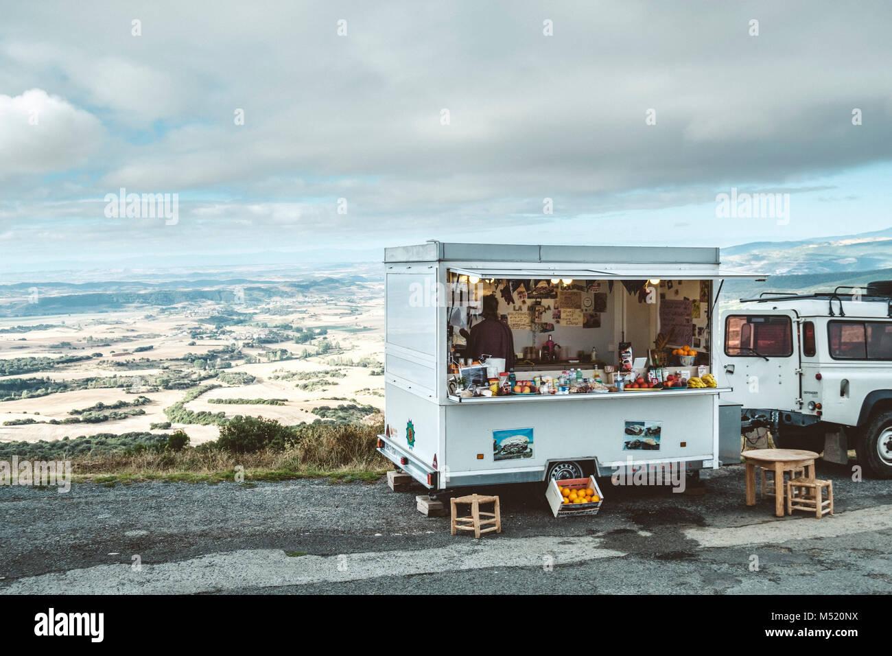 Food truck parked on roadside, Pamplona, Navarre, Spain - Stock Image