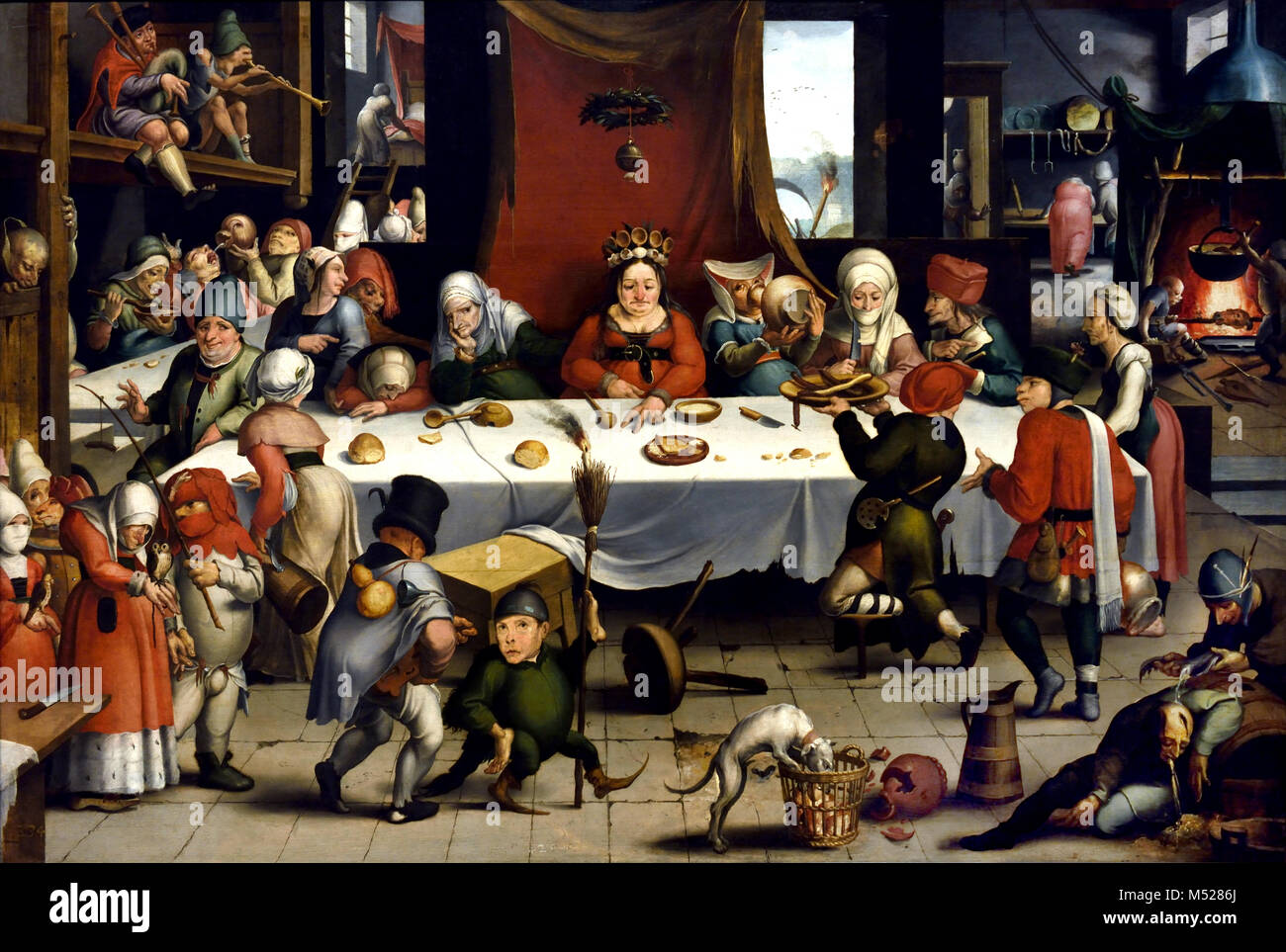 Burlesque Feast 1550 by Jan Mandijn (or Mandy) .1550, 16th, century,  Belgian, Belgium, Flemish,