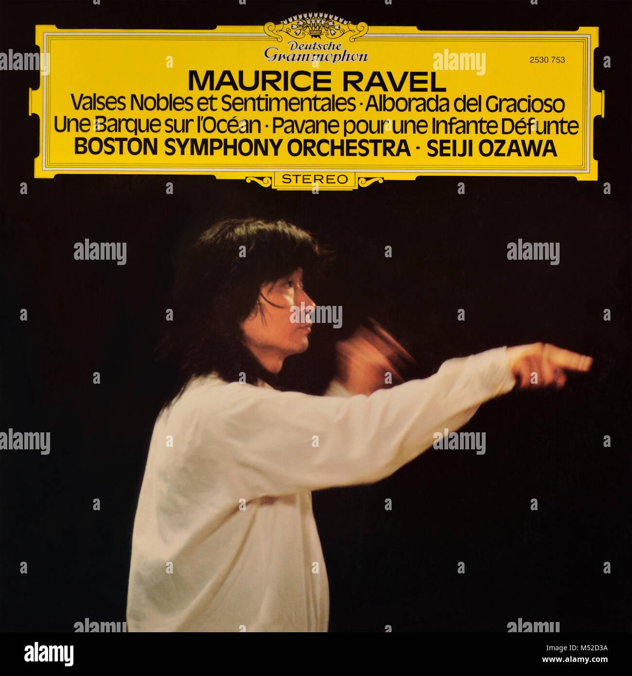 Maurice Ravel - Boston Symphony Orchestra • Seiji Ozawa original vinyl album cover - 1975 - Stock Image