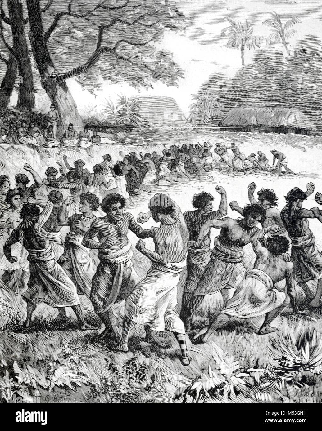 Tongan Men Boxing in Tonga, or the Kingdom of Tonga, Polynesia (Engraving, 1988) - Stock Image