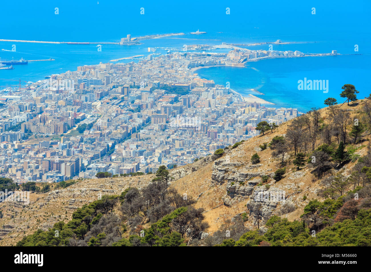 Trapani view from Erice, Sicily, Italy - Stock Image