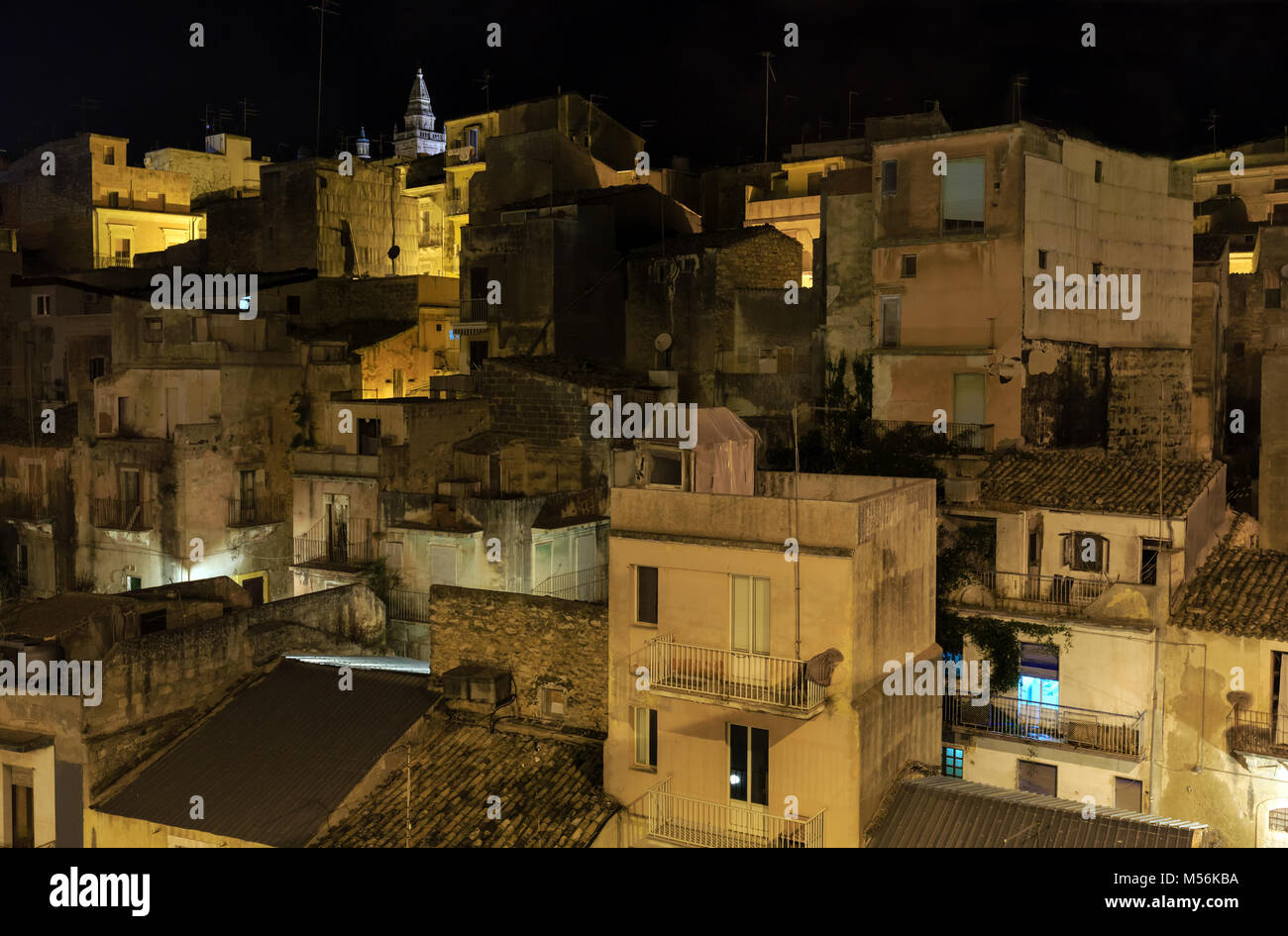 Night Ragusa town, Sicily, Italy - Stock Image