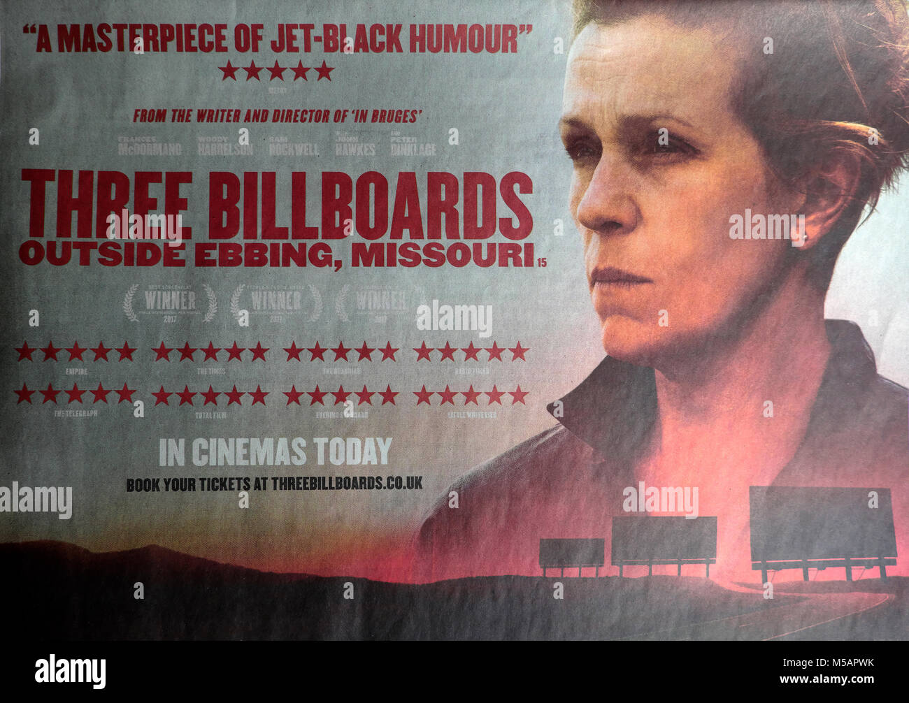 Three Billboards Outside Ebbing, Missouri Oscar Award Winning movie advertisement in a UK newspaper with Hollywood - Stock Image