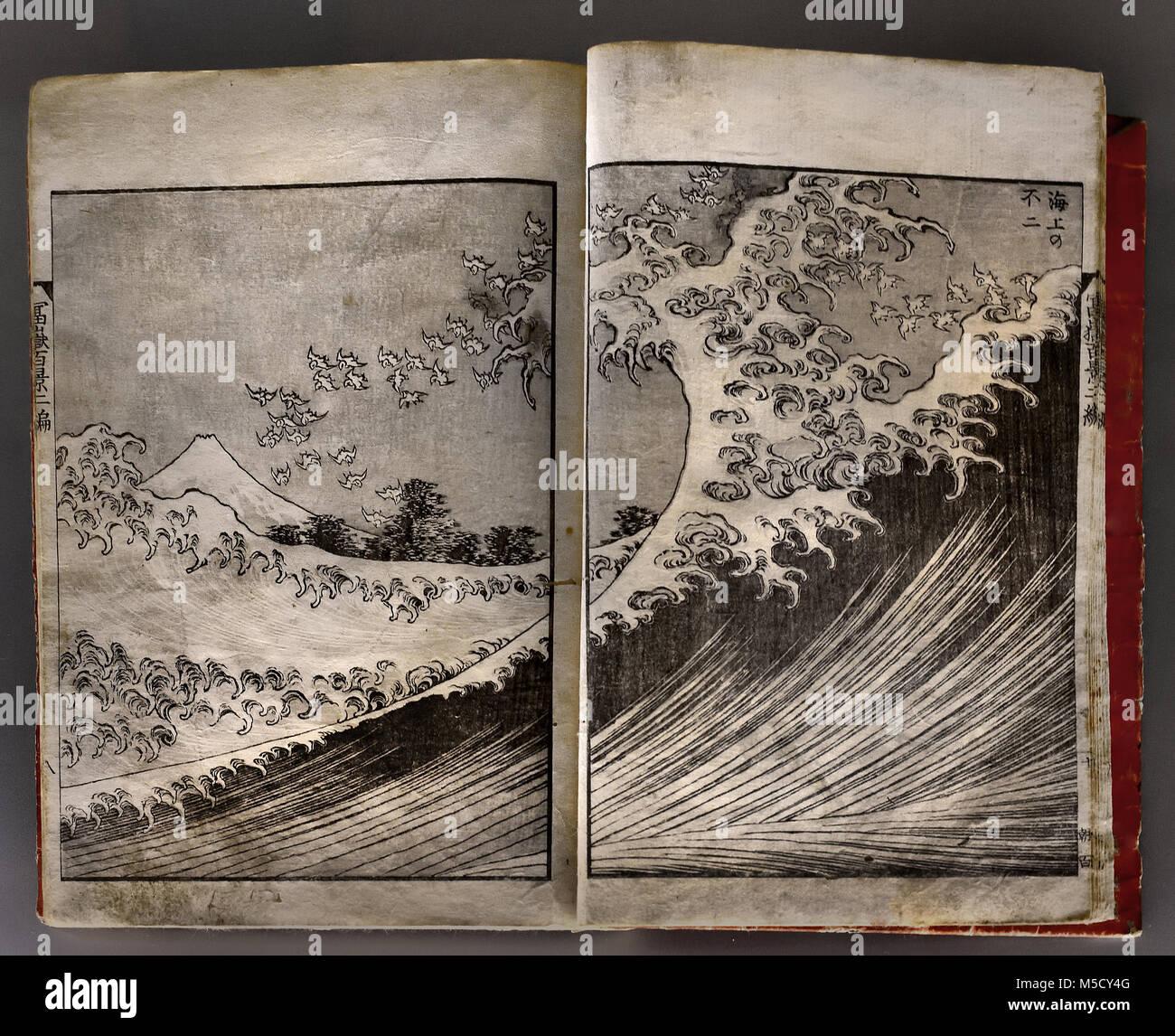 'One hundred views of Mt. Fuji - vol. II' - Illustrations  1835 Katsushika HOKUSAI (1760-1849)19th,century, - Stock Image