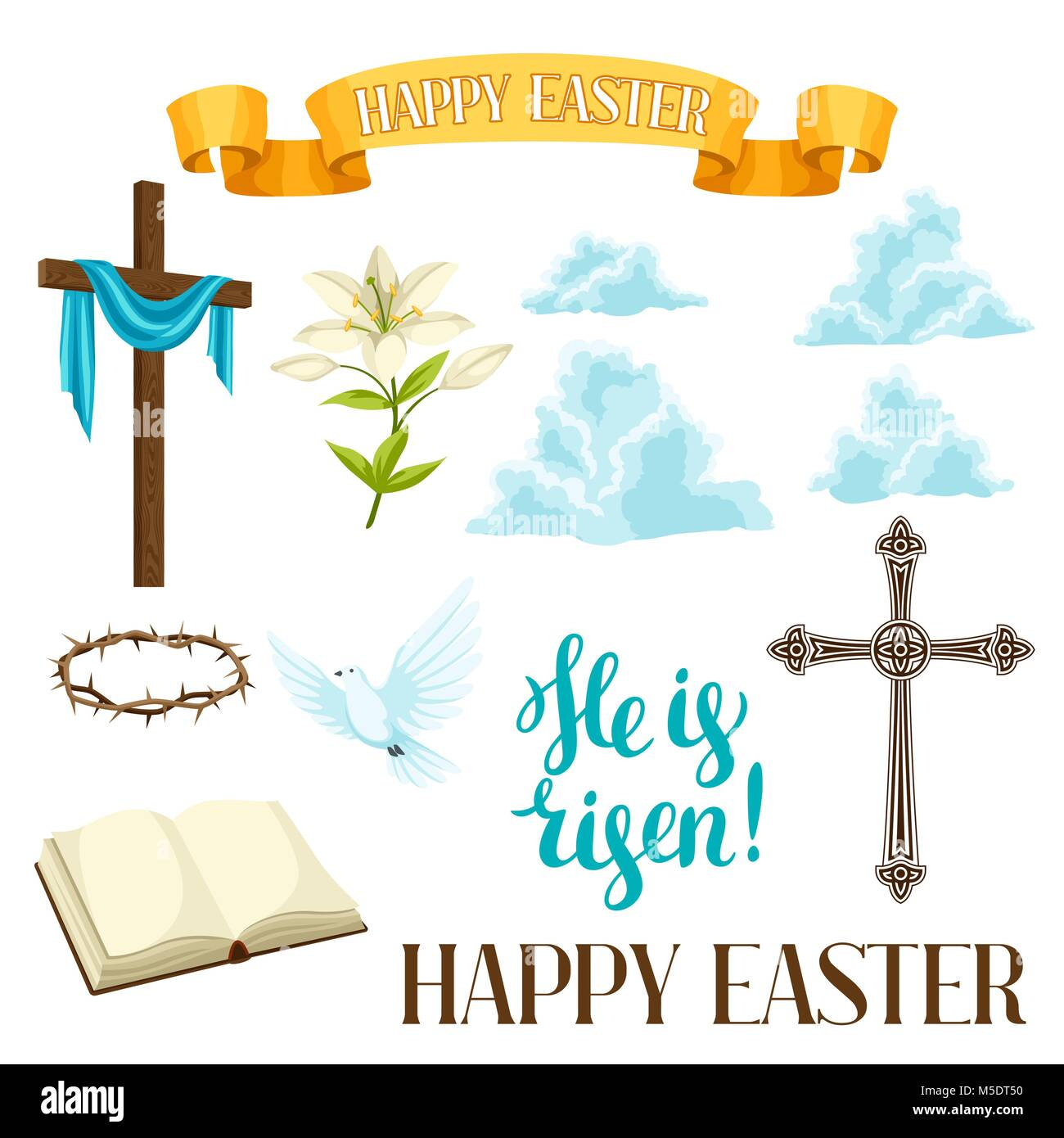 Religion symbols cut out stock images pictures alamy happy easter set of decorative objects religious symbols of faith stock image biocorpaavc Gallery