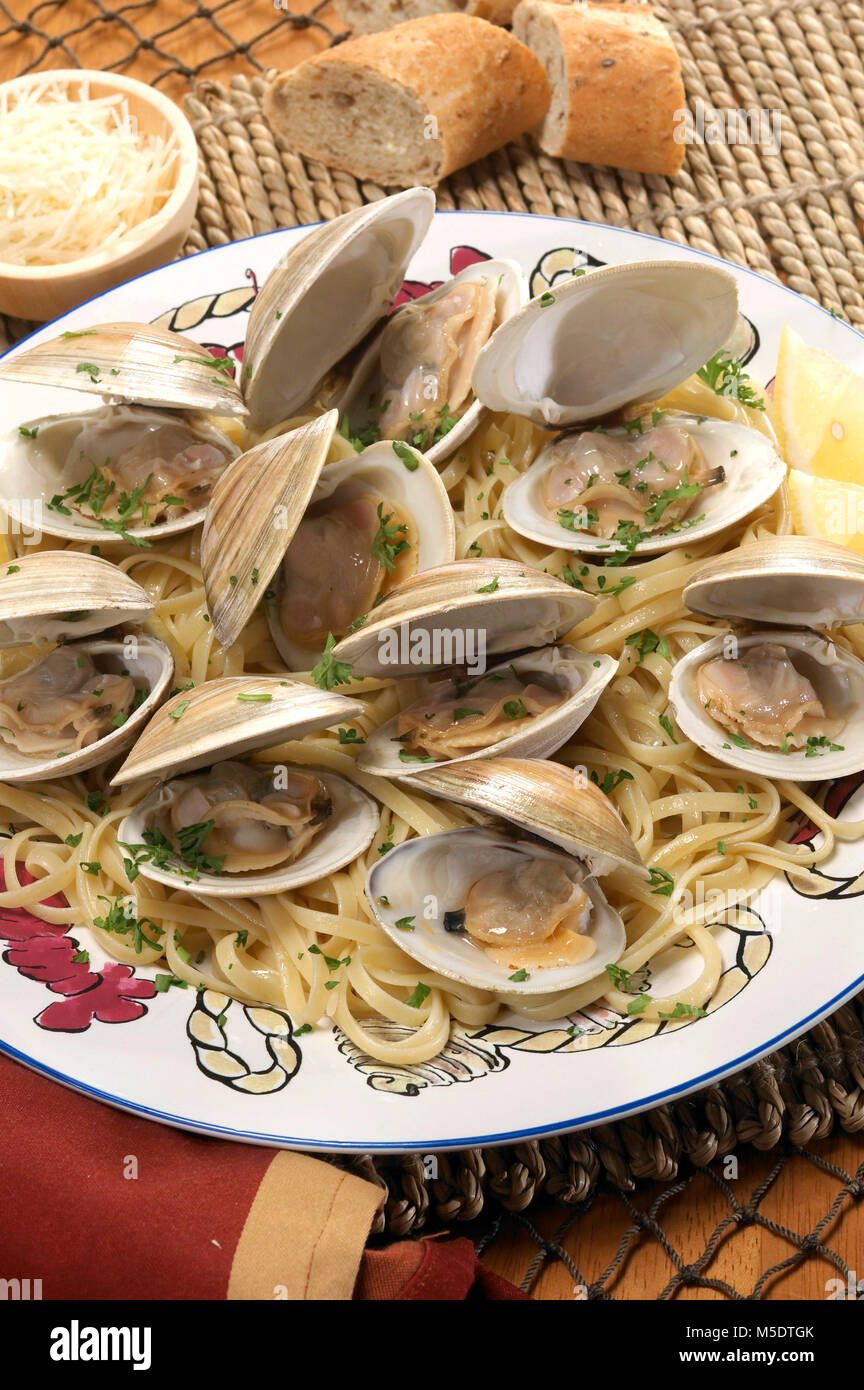 Clams Linguine - Stock Image