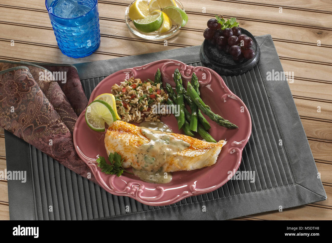 Cod Fish Fillet Dinner - Stock Image