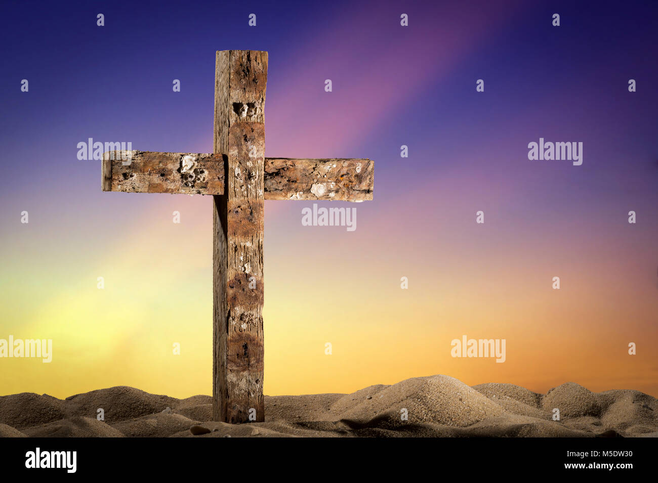 Old Worn Weathered Wooden Cross - Stock Image