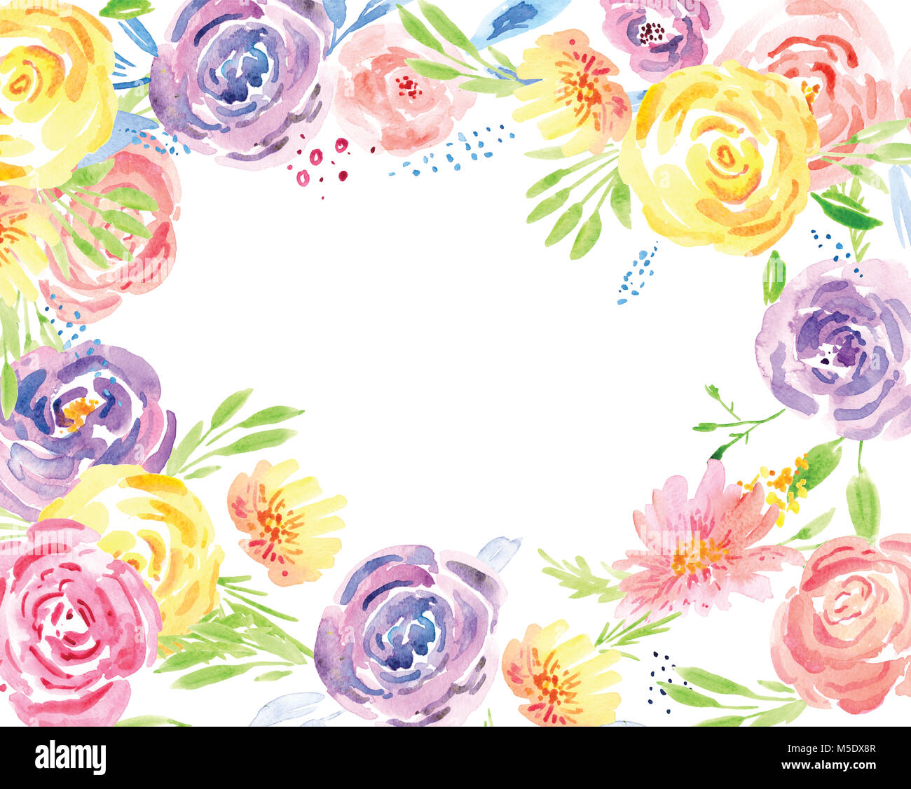 Spring Flower Watercolor Clip Art. Hand Painted Flower Bouquets - Stock Image