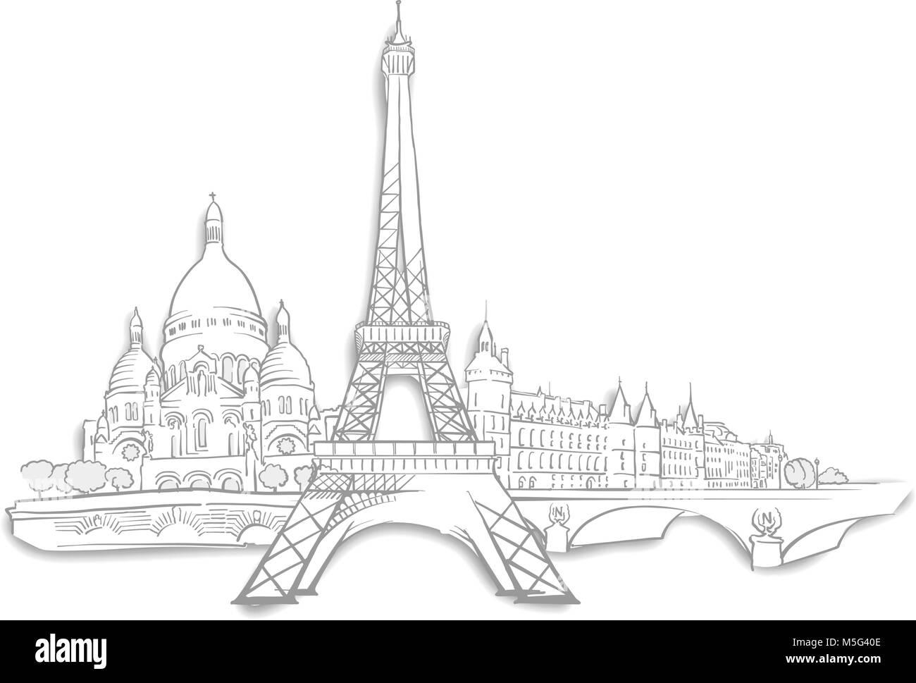 Line Art Hand : Paris landmarks sketches line art drawing by hand travel design