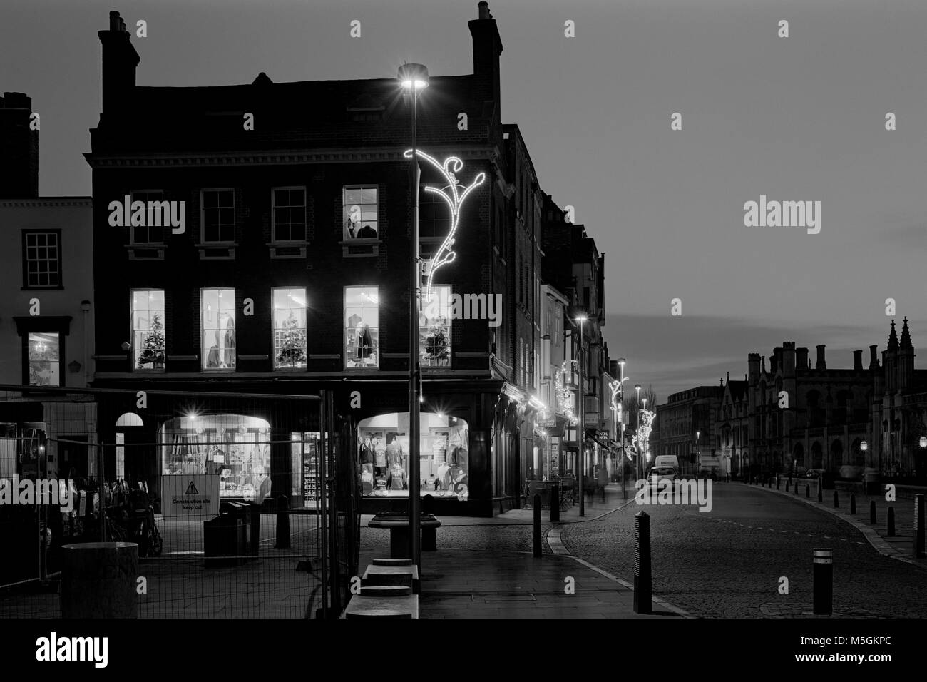King's Parade Cambridge with Christmas lights looking South - Stock Image