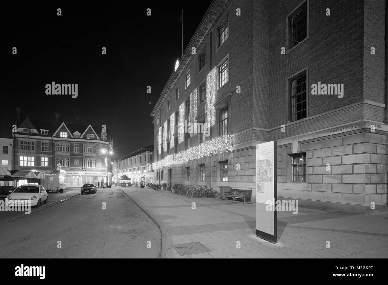 The Guildhall Market Hill Cambridge decorated with Christmas lights - Stock Image