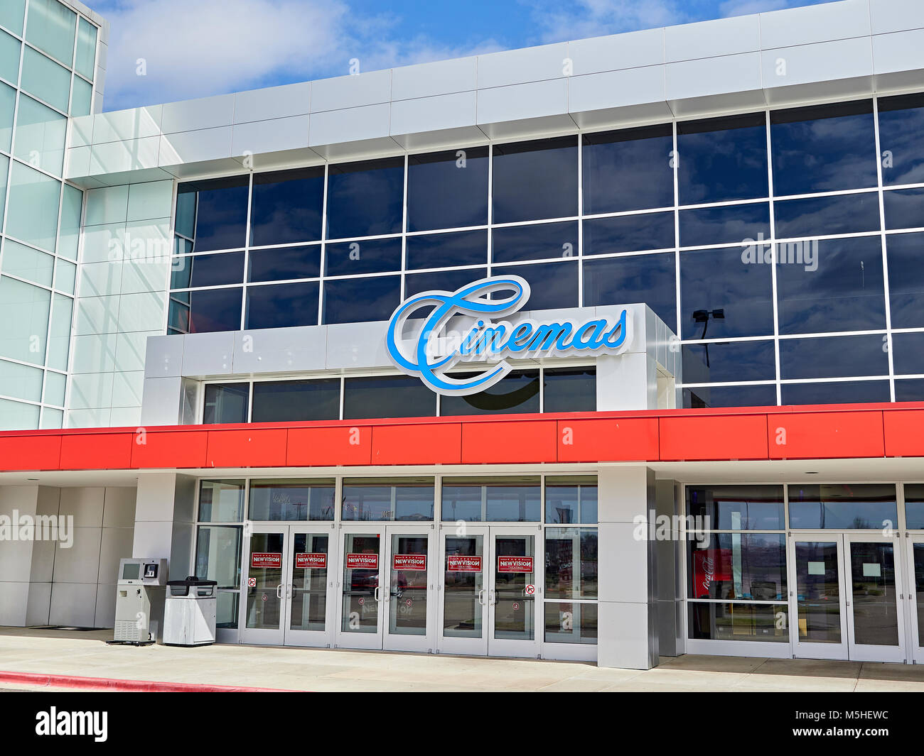 Movie theater or cinema exterior entrance sign at the Chantilly Carmike 13 movie theater in Montgomery, Alabama, - Stock Image
