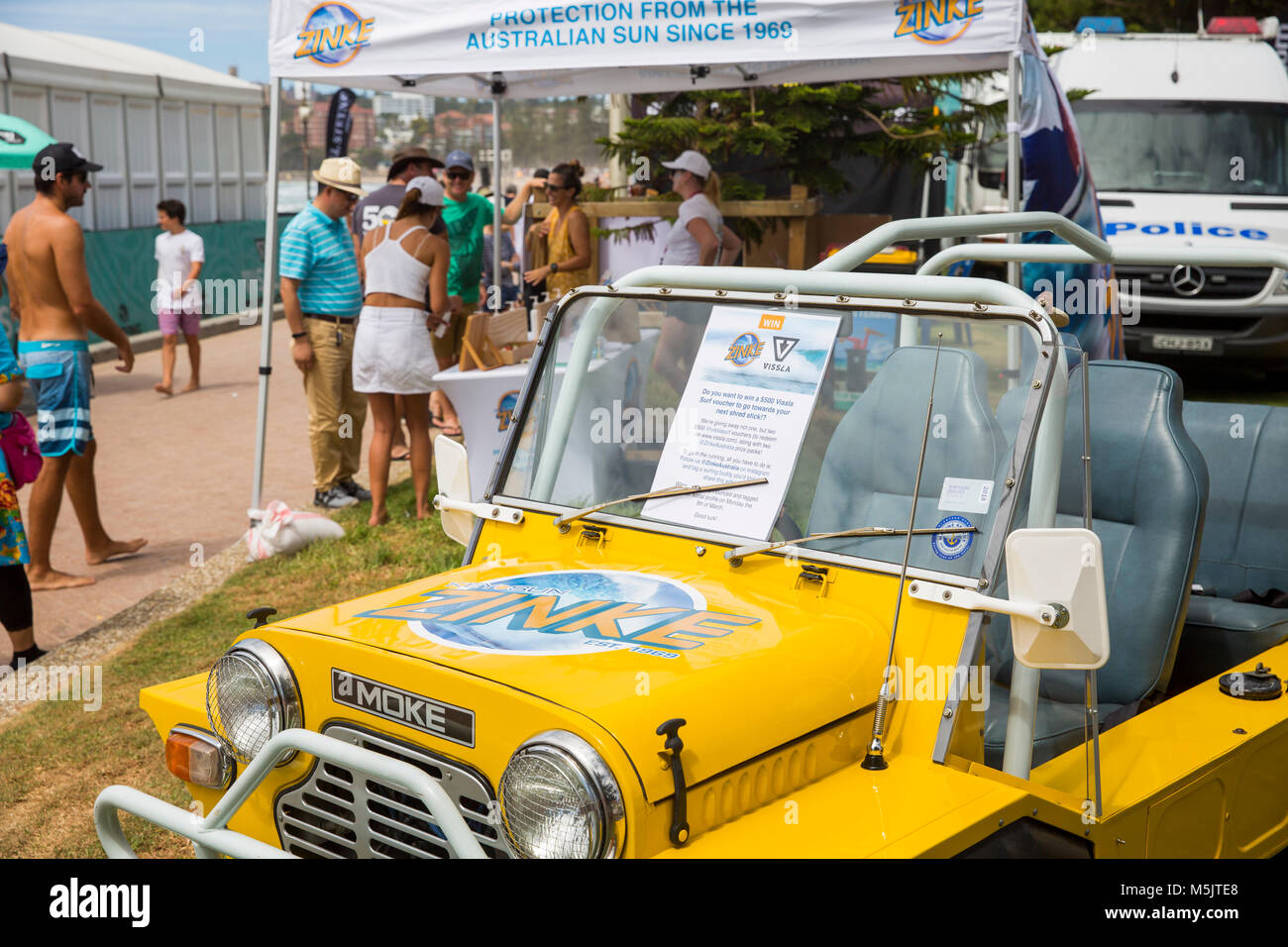 Yellow mini make vehicle at Manly beach in Sydney,Australia - Stock Image