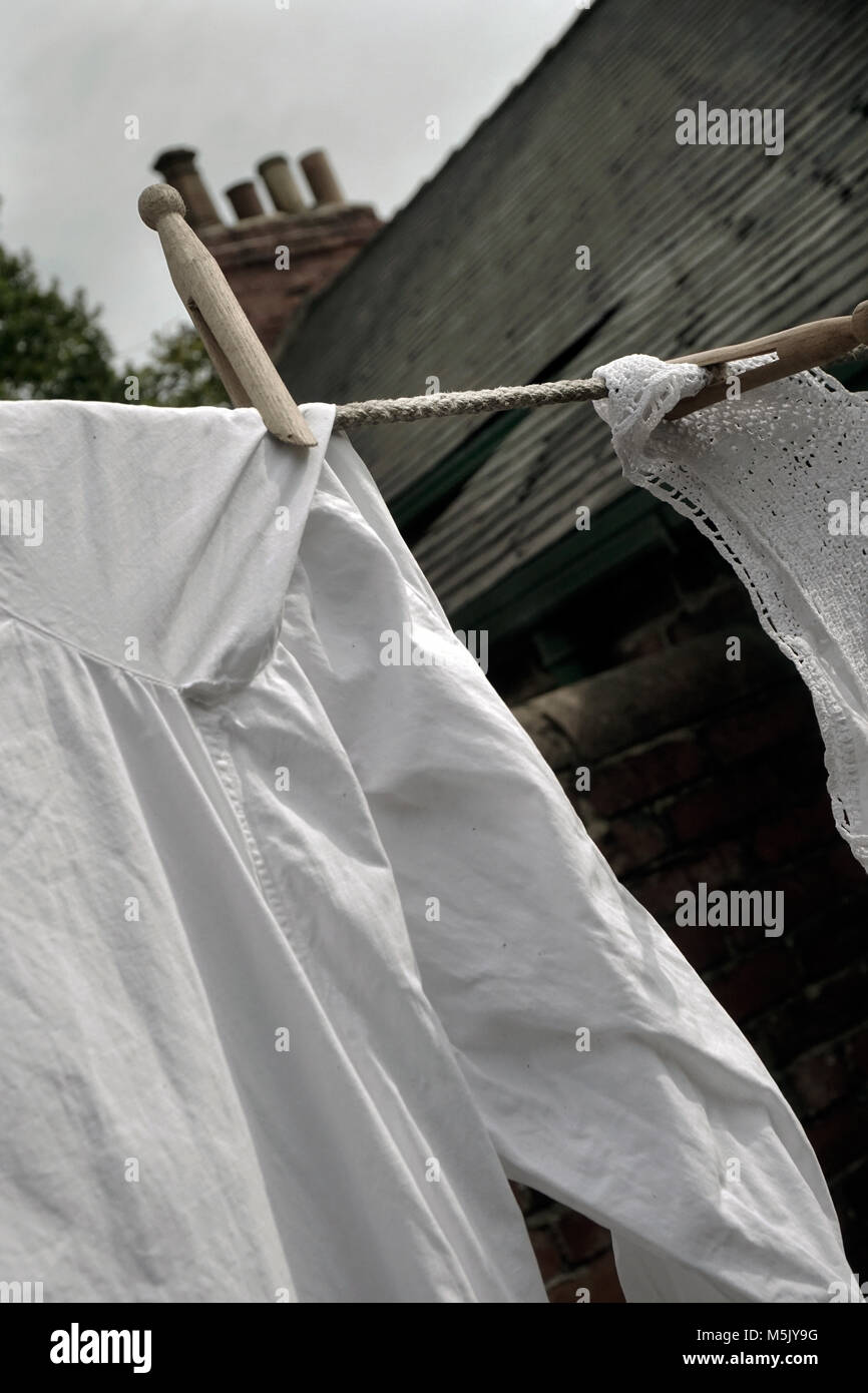 white washing on linen line - Stock Image