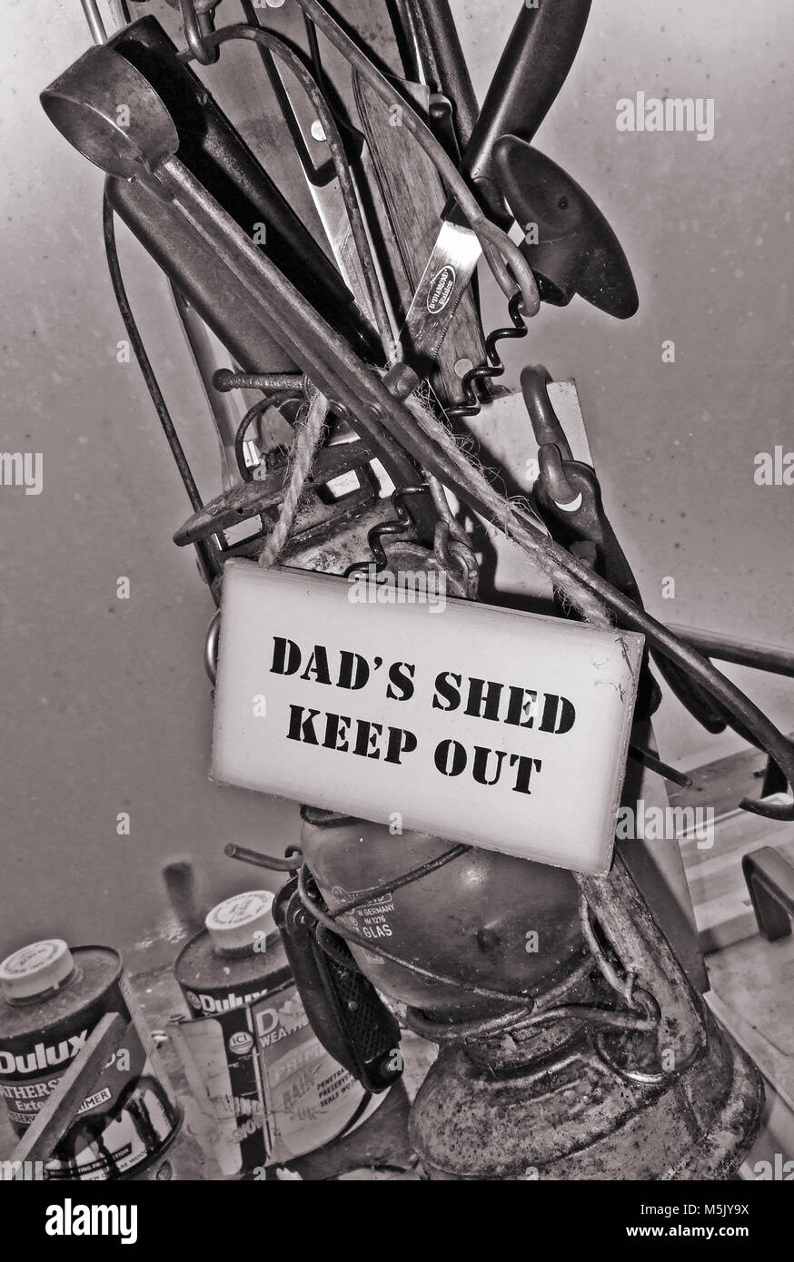 dads shed sign in garden shed - Stock Image