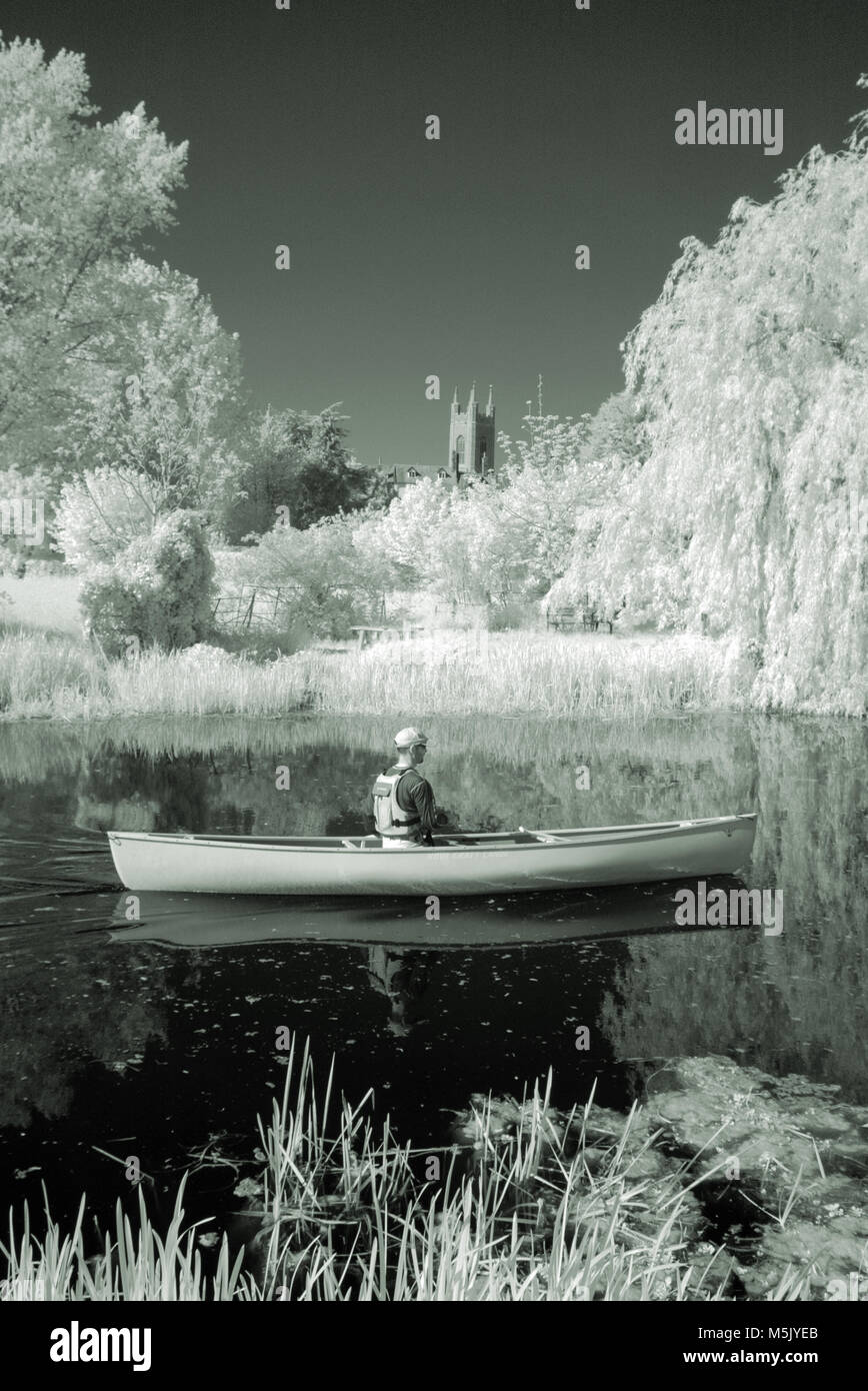 solitary man in canoe on river waveney at bungay suffolk uk - Stock Image
