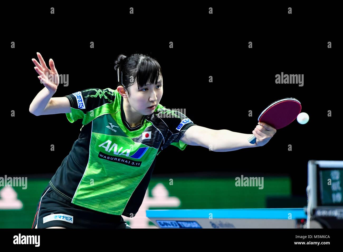 London, UK, 24 Feb 2018. during International Table Tennis Federation Team World Cup match between   at Copper Box - Stock Image