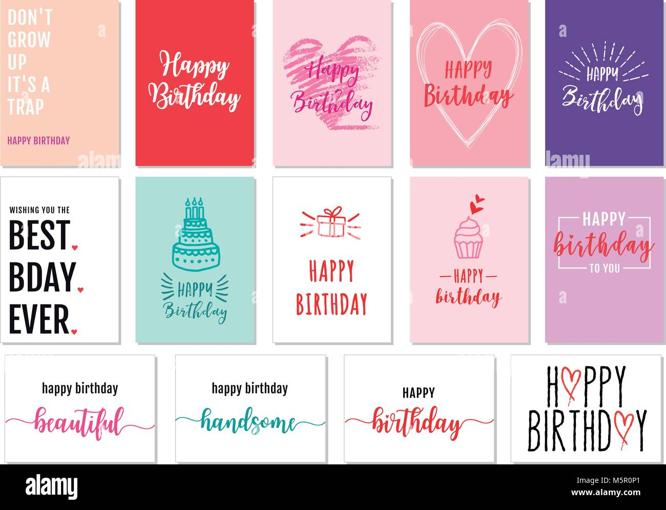 Birthday cards with hand-drawn graphic design elements, vector set - Stock Image