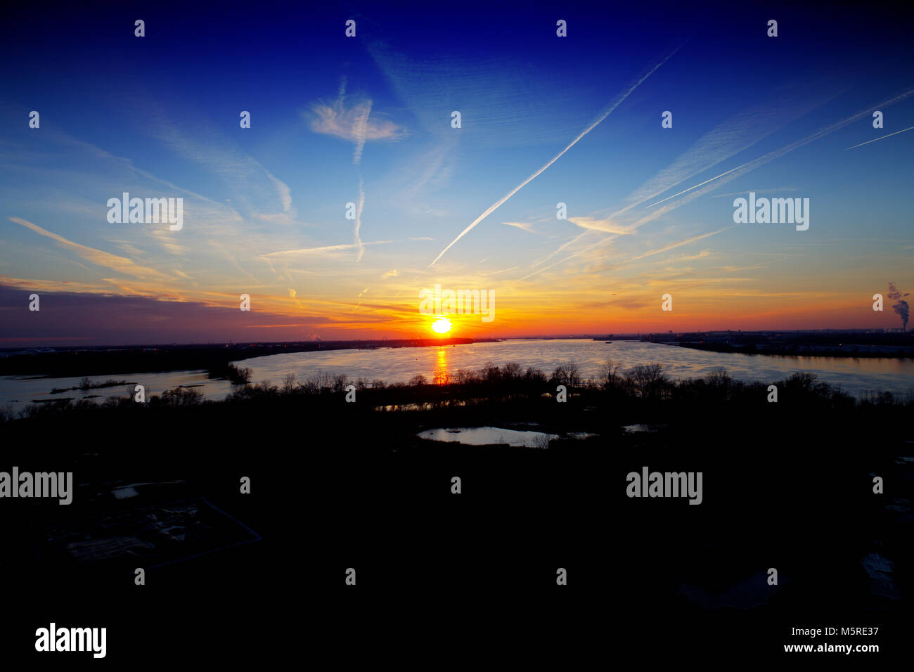 Aerial View of Sunset over River - Stock Image