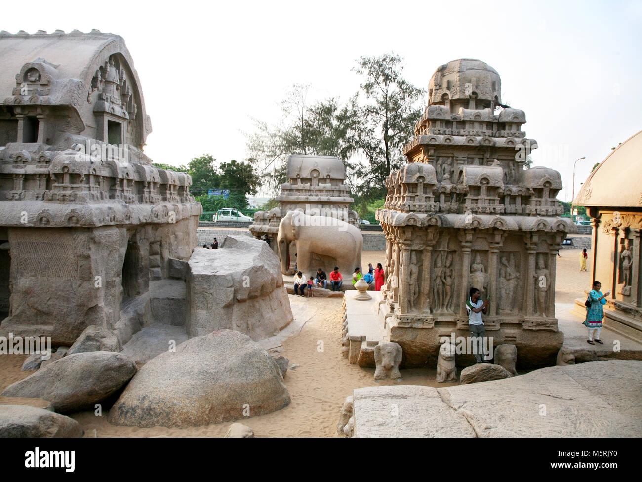 Arjuna Ratha, Mahabalipuram, India - Stock Image