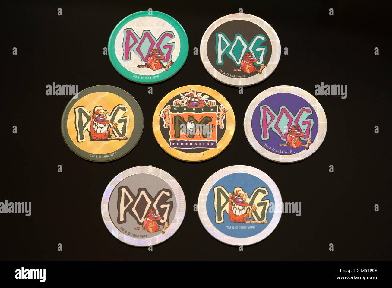 Pogs (Milk cap) collectables which was a popular children's game in the 1990's - Stock Image