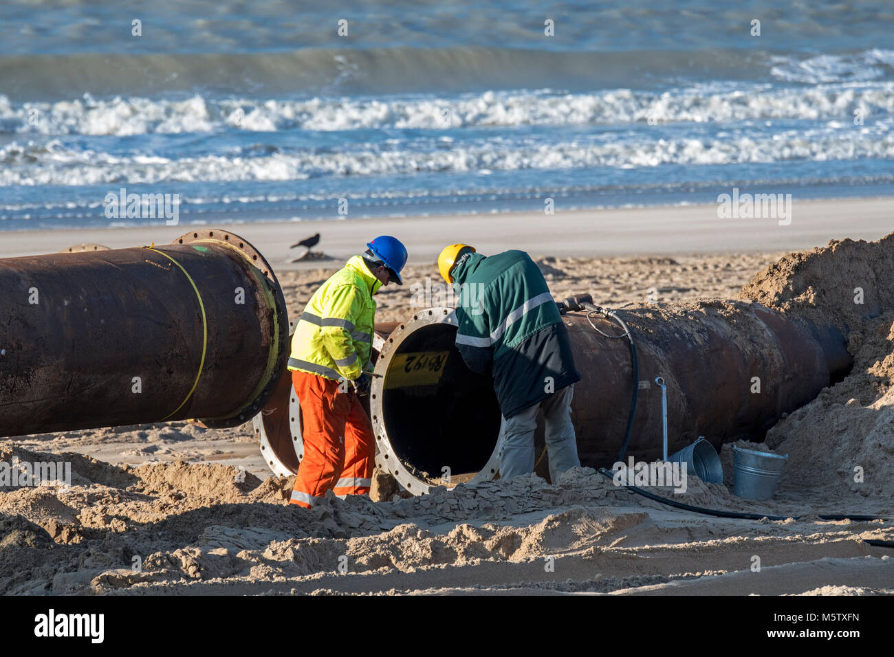 Dredging workers connecting pipes of pipeline during sand replenishment / beach nourishment works along the Belgian - Stock Image