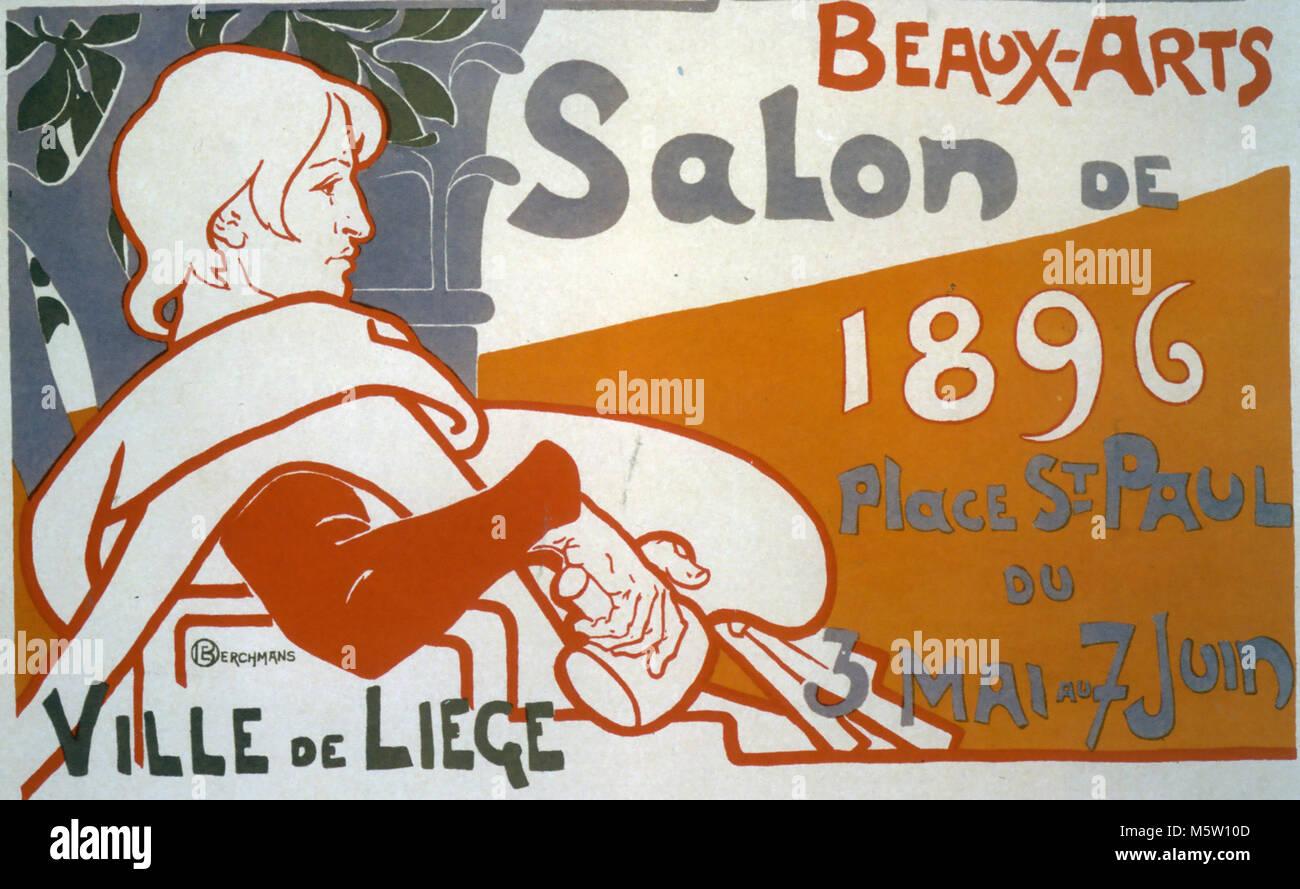 ECOLE DE BEAUX-ARTS Salon show in Liege in 1896 - Stock Image
