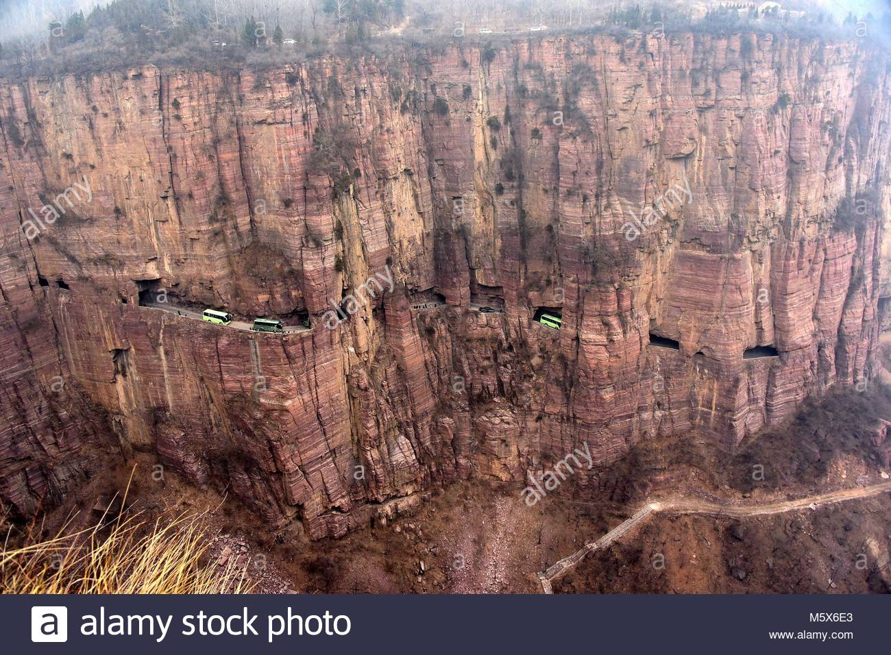 Xinxiang, China. 26th Feb, 2018. Guoliang wall road, one of the world's most peculiar road which built up in the Stock Photo