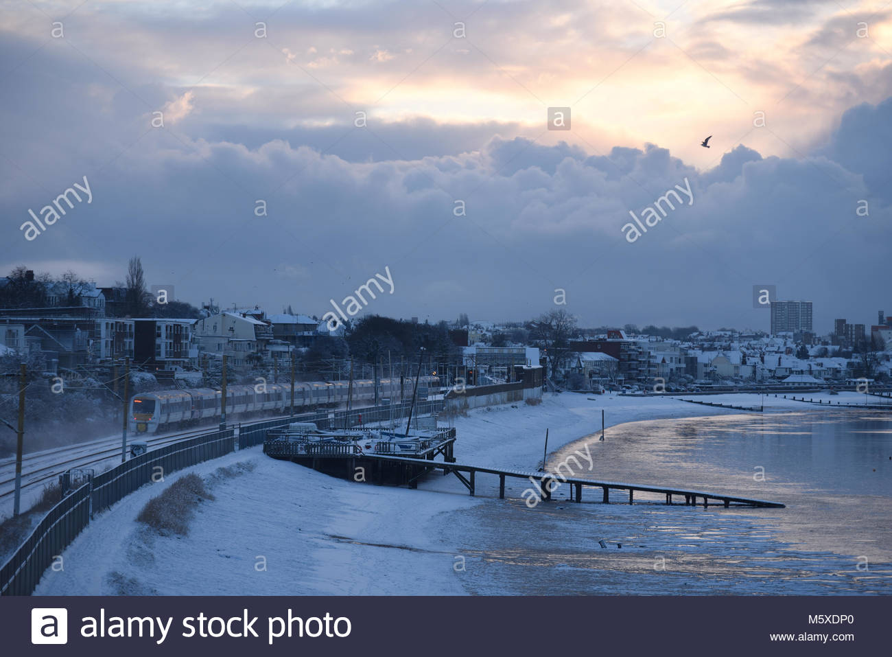 The âBeast from the Eastâ arrived in Southend on Sea, Essex Stock Photo